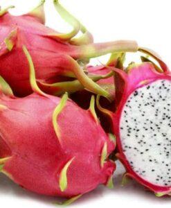 Fruta de pitaya roja con carne blanca, variedad H. undatus