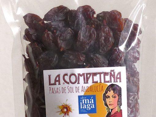 Detalle de las bolsa de 450 g de pasas Moscatel