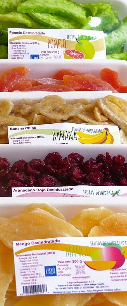 Frutas deshidratadas en envase a granel e individual