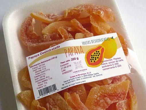 Papaya deshidratada en bandeja de 200 g